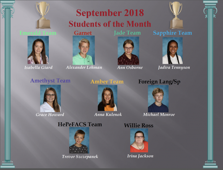 Congratulations to the September Students of the Month!