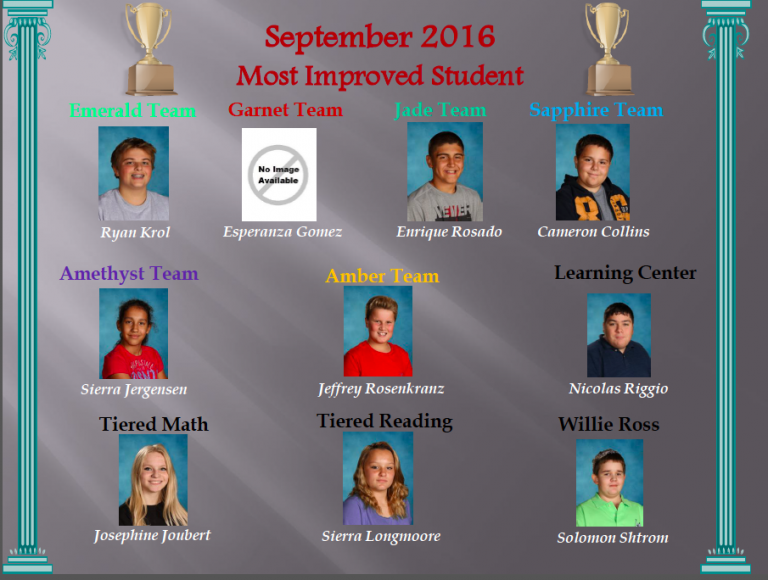 Congratulations to all of our Most Improved Students for the month of September!